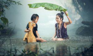 Femme, Jeune, La Pluie, Étang, Cambodge, Jeune Fille